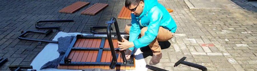 環保木連體正方桌椅 安裝 OFS184