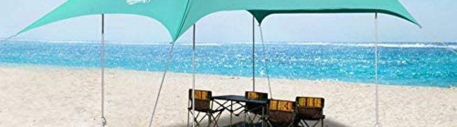 WINNINGO Premium Beach Sunshade, 10′ x 9′ Upgraded Large Sun Shade Canopy, Beach Tent with 4 Aluminum Poles, 4 Pole Anchors, Waterproof Carry Bag & Tarp Mat, UPF50 UV Protection